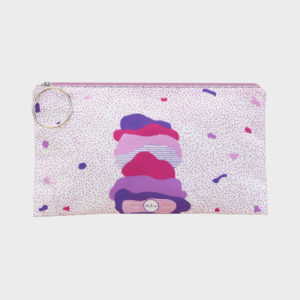 Soft ice-cream clutch on pink abstract patterns is printed on polyester and has colourful zipper by m.k.e textiles