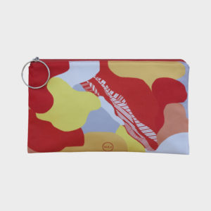 Sunset clutch on bold abstract shapes is printed on polyester and has colourful zipper by m.k.e textiles