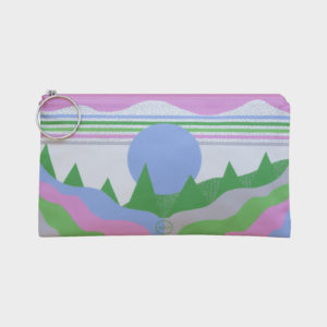 Valley clutch on mountain themed patterns is printed on polyester and has colourful zipper by m.k.e textiles