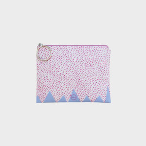 Confetti pouch on pink and lilac abstract prints is printed on polyester and has colourful zipper by m.k.e textiles