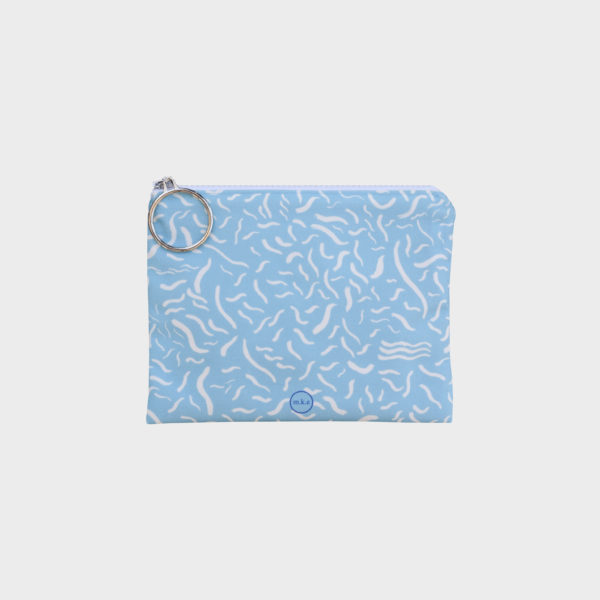 Pool party pouch on two tone patterns is printed on polyester and has colourful zipper by m.k.e textiles
