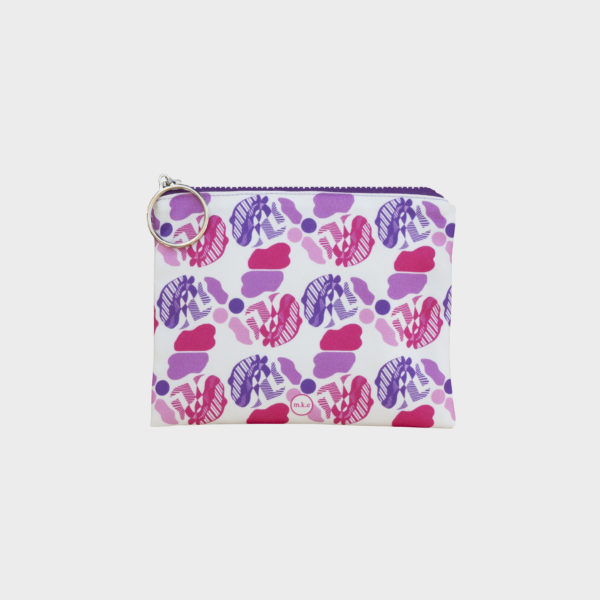 Soft ice-cream pouch on pink repeated patterns is printed on polyester and has colourful zipper by m.k.e textiles