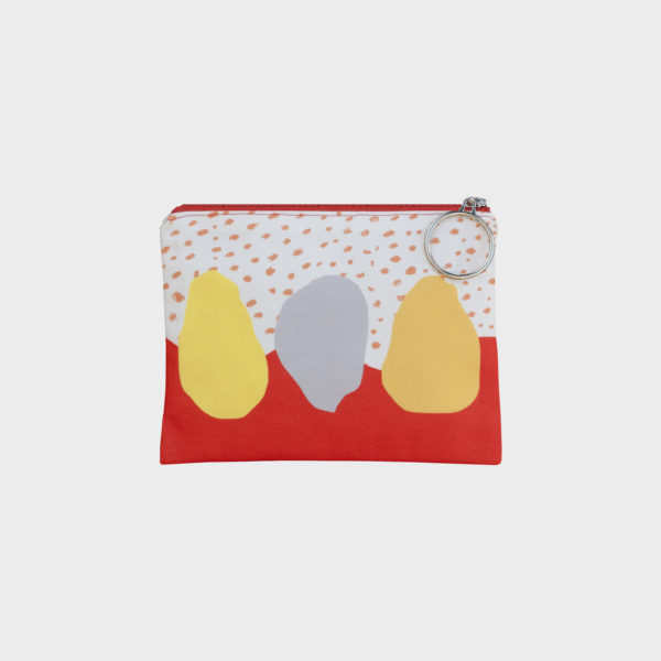 Sunset pouch on orange and yellow shades is printed on polyester and has colourful zipper by m.k.e textiles