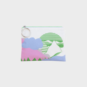 Valley pouch on cute shape combinations is printed on polyester and has colourful zipper by m.k.e textiles