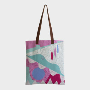 Confetti tote bag on cute abstract patterns is printed on polyester and has leather handles by m.k.e textiles