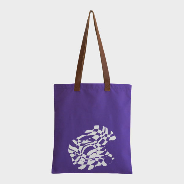 Paintball tote bag on purple and orange combinations is printed on polyester and has leather handles by m.k.e textiles