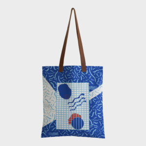 Pool party tote bag on blue and white combinations is printed on polyester and has leather handles by m.k.e textiles