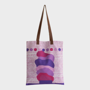 Soft ice-cream tote bag on pink abstract patterns is printed on polyester and has leather handles by m.k.e textiles