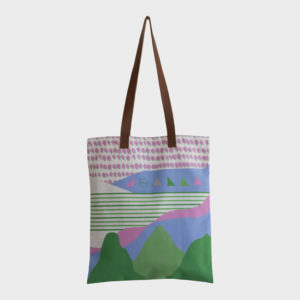Valley tote bag on green and pink elements is printed on polyester and has leather handles by m.k.e textiles