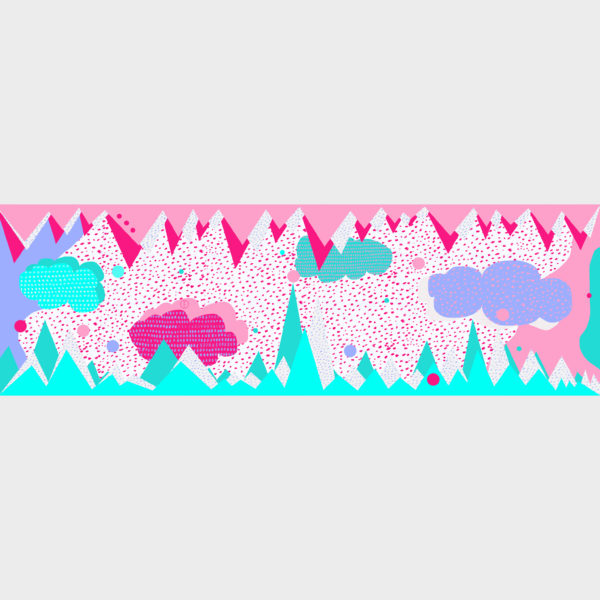 Confetti scarf with playful patterns is printed on see through polyester in 70cm x 220cm by m.k.e textiles