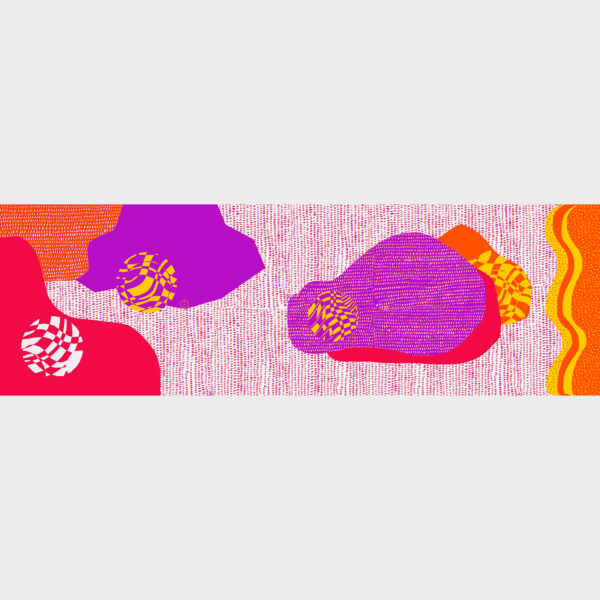 Paintball scarf with playful patterns is printed on see through polyester in 70cm x 220cm by m.k.e textiles