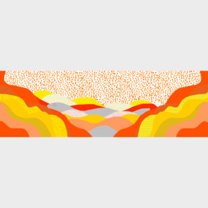 Sunset scarf with playful patterns is printed on see through polyester in 70cm x 220cm by m.k.e textiles
